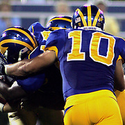 Delaware LB (#10) Paul Worrilow assist in the sack of West chester quarterback (#17) Mike Mattei in the second quarter West Chester trails 0-14. No. 16 Hens would go on to a 31-0 victory in the season opener at Delaware Stadium.....