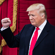 WASHINGTON, USA - January 20: President-elect Donald Trump arrives for the 58th U.S. Presidential Inauguration where where he will be sworn in as the 45th President of the United States of America in Washington, USA on January 20, 2017.
