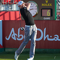 19.01.2013 Abu Dhabi, United Arab Emirates.  Andreas Harto in action during the European Tour HSBC Golf championship  third round from the Abu Dhabi Golf Club.