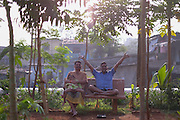 Indians sitting on a bench in a neighbourhood garden, in Mumbai, Maharashtra, India, on  January 26, 2015.<br />