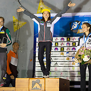 The winners of the women's lead at the Briancon World Cup Climbing Competition. Jain Kim (Korea) 1st, Jessica Pilz (Austria) 2nd, Anak Verhoeven (Belgium) 3rd