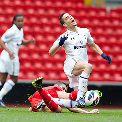 LIVERPOOL, ENGLAND - Easter Monday, April 1, 2013: Tottenham Hotspur's Nabil Bentaleb is tackled by Liverpool's captain Conor Coady during the Under 21 FA Premier League match at Anfield. (Pic by David Rawcliffe/Propaganda)