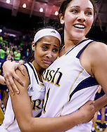SOUTH BEND, IN - MARCH 04: Skylar Diggins #4 of the Natalie Achonwa #11 of the Notre Dame Fighting Irish of the Notre Dame Fighting Irish celebrate after defeating the Connecticut Huskies at Purcel Pavilion on March 4, 2013 in South Bend, Indiana. Notre Dame defeated Connecticut 96-87 in triple overtime to win the Big East regular season title. (Photo by Michael Hickey/Getty Images) *** Local Caption *** Skylar Diggins; Natalie Achonwa