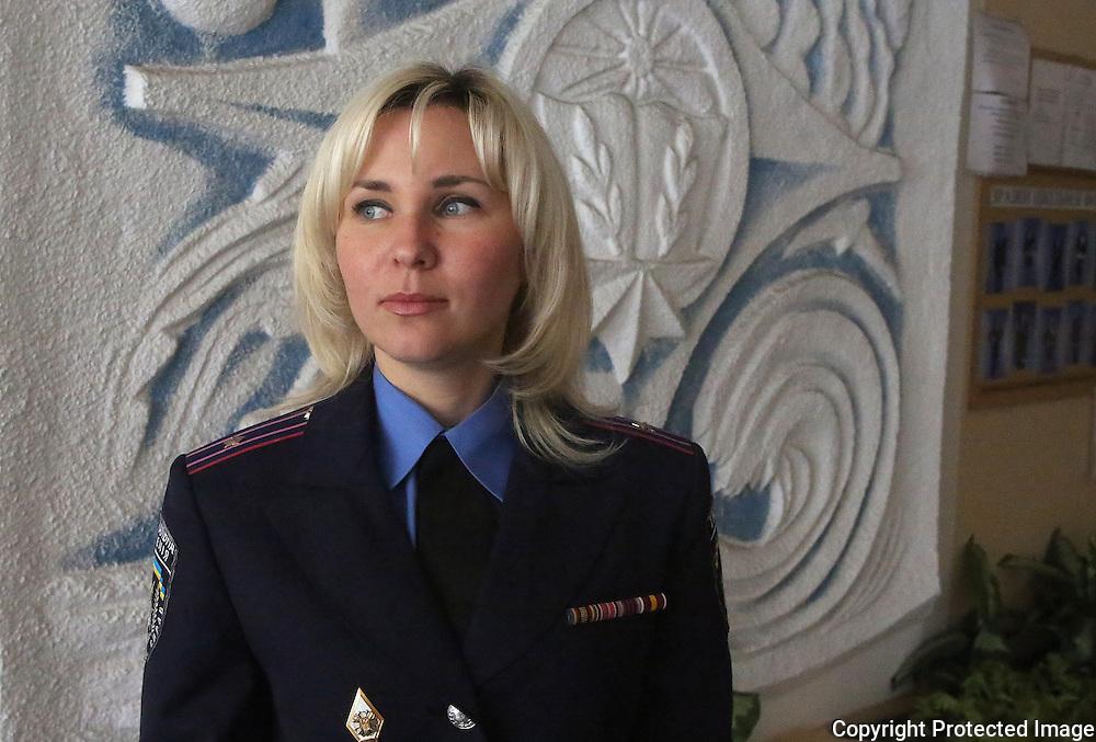 Ukraine Diary: Sunday 25 May 2014 Ukrainian Presidential Elections. Major Viktoriya Bass Ukrainian Militia<br /> Photo Bohdan Warchomij