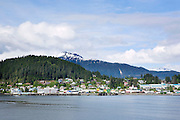 USA, Alaska, A view of the town of Wrangell on Wrangell Island from the deck of a Alaska State Ferry on the Inside Passage of Southeast Alaska.