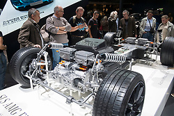 Cut away of chassis and electric motor of new  Mercedes Benz SLS AMG Electric Drive sportscar at Paris Motor Show 2012