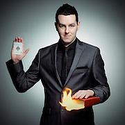 Promotional portrait of magician, Billy Reid.
