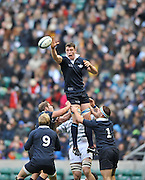 Twickenham, GREAT BRITAIN,   Oxfords' Will ROWLAND, guides the line out ball down to Stuart COMMINS, during a phase of play in the  2012 Varsity Rugby match.  Oxford vs Cambridge, at the RFU Stadium, Twickenham, Surrey. on Thursday  06/12/2012...[Mandatory Credit; Peter Spurrier/Intersport-images]