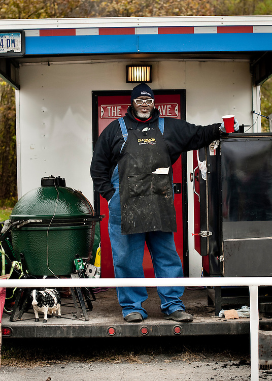 "Big Moe Cason with his smokers in the back of his trailer that he calls ""The Girl"". .. Photographer: Chris Maluszynski /MOMENT"