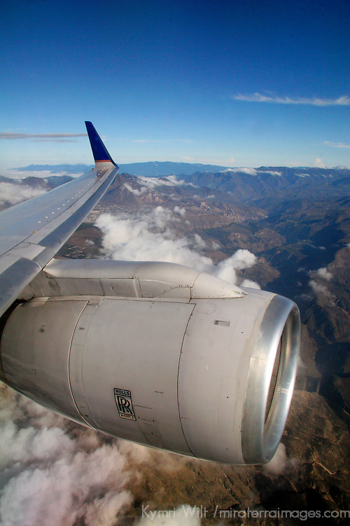 Americas, South America, Ecuador, Quito.  Scenic backdrop of the Andes mountains greets the flight into Quito, Ecuador.