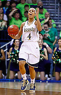 SOUTH BEND, IN - MARCH 04: Skylar Diggins #4 of the Notre Dame Fighting Irish celebrates after a play against the Connecticut Huskies at Purcel Pavilion on March 4, 2013 in South Bend, Indiana. Notre Dame defeated Connecticut 96-87 in triple overtime to win the Big East regular season title. (Photo by Michael Hickey/Getty Images) *** Local Caption *** Skylar Diggins