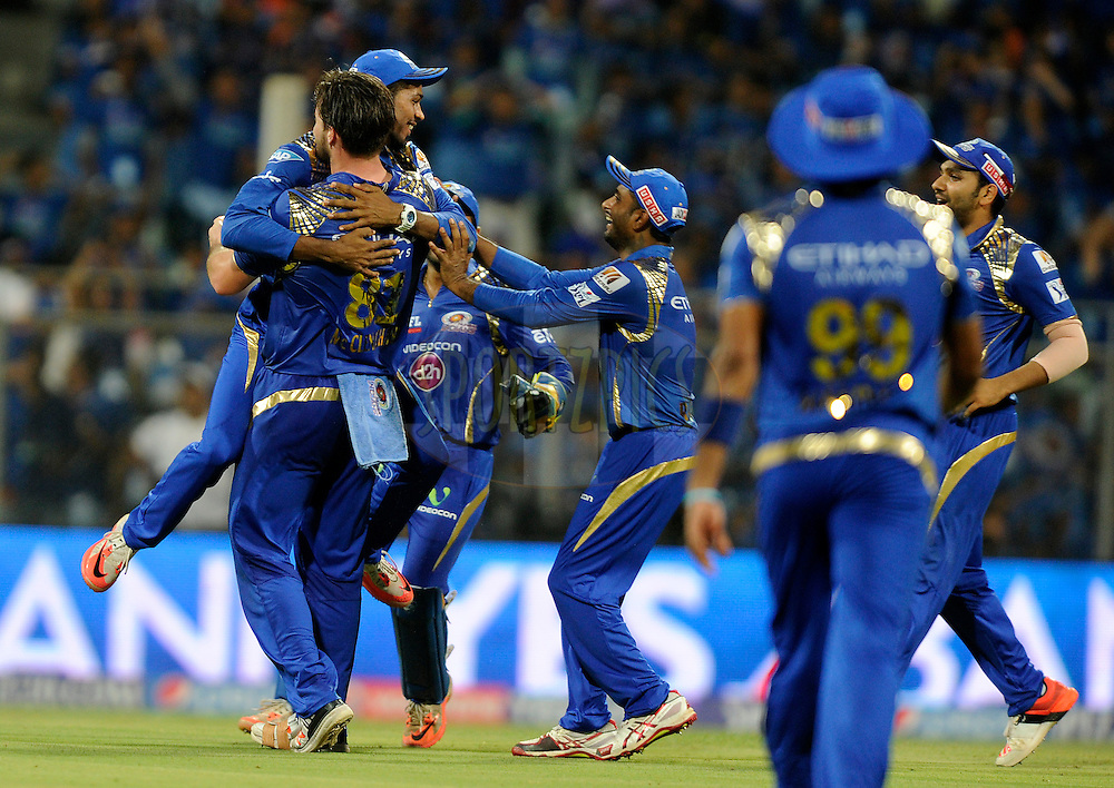 during match 23 of the Pepsi IPL 2015 (Indian Premier League) between The Mumbai Indians and The Sunrisers Hyferabad held at the Wankhede Stadium in Mumbai India on the 25th April 2015.<br /> <br /> Photo by:  Pal Pillai / SPORTZPICS / IPL