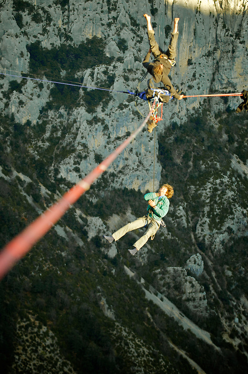 Christian Krr and Alexander Schultz from Elephant Slacklines, perform the first attempts of slackline yoga in the first SPACE line, 300m high, and 65, 45,30m legs, rigged in the Sordidon sector of Verdon Gorges, France, culminating in some EPIC leash falls. ..2012 © Pedro Pimentel
