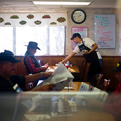 Local coal miners at the Kayenta Mine eat a meal at the Anasazi Inn before heading in for their shift.