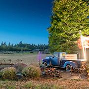 Lavender Farm truck under a near-full moon. ime: 2:44 AM.