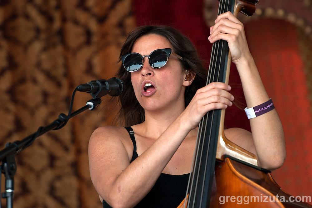 Bridget Kearney bassist with Lake Street Dive performs at Tour de Fat, Ann Morrison Park, Boise, Idaho, August 15, 2015.