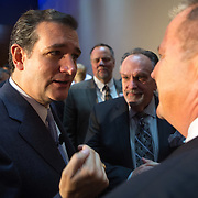 U.S. Sen. Ted Cruz (R-Tex) talks to supporters Friday, Oct. 25, 2013, after speaking at the Republican Party of Iowa's Reagan Dinner at the Iowa Events Center in Des Moines, Iowa. (AP Photo/Scott Morgan)