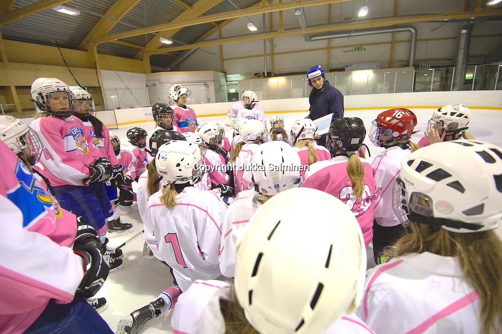 Leijonakiekkokoulun ja Girls Hockey Day -markkinointivalokuvaukset Kisakalliossa kesäkuun alussa 2014. Samalla kuvattiin tyttöjen taitovalmentaja Saara Niemi työssään.