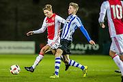 AMSTERDAM - Jong Ajax - FC Eindhoven , Voetbal , Jupiler league , Seizoen 2016/2017 , Sportpark de Toekomst , 24-02-2017 , Jong Ajax speler Carel Eiting (l) in duel met Eindhoven speler Fries Deschilder (r)