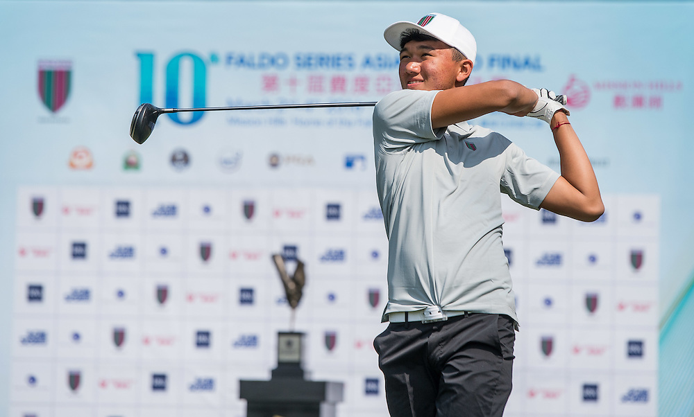 Tenzing Tsering of Nepal in action during day one of the 10th Faldo Series Asia Grand Final at Faldo course in Shenzhen, China. Photo by Xaume Olleros.