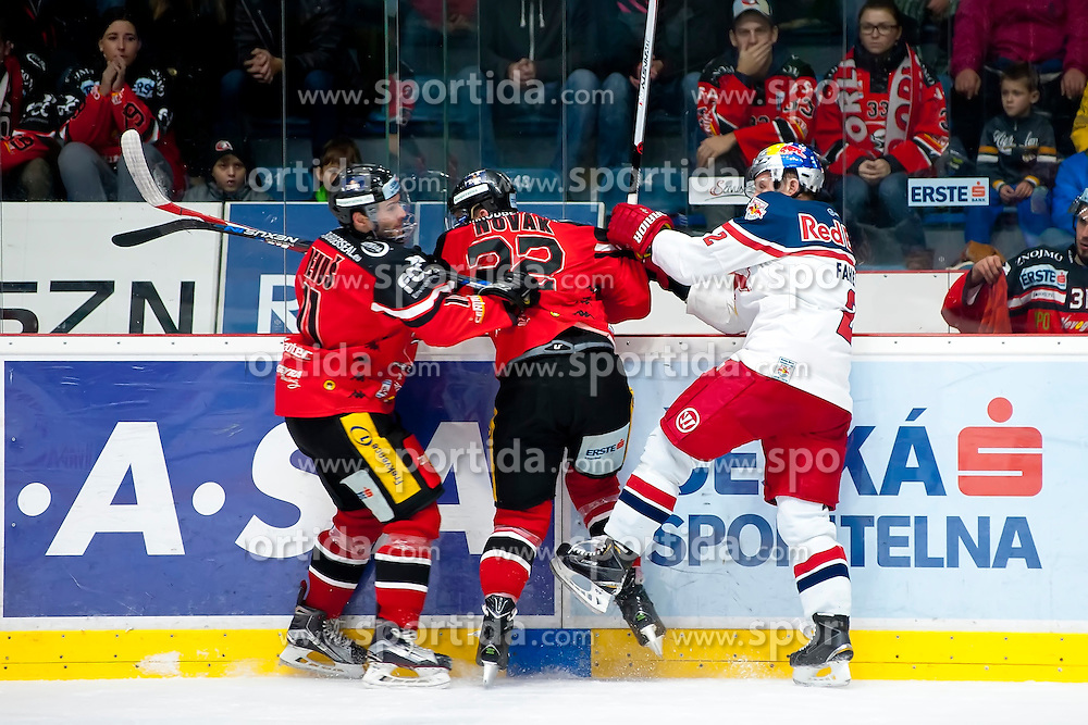 17.11.2015, Ice Rink, Znojmo, CZE, EBEL, HC Orli Znojmo vs EC Red Bull Salzburg, 21. Runde, im Bild v.l. Branislav Rehus (HC Orli Znojmo) Patrik Novak (HC Orli Znojmo) Brian Fahey (EC Red Bull Salzburg) // during the Erste Bank Icehockey League 21th round match between HC Orli Znojmo and EC Red Bull Salzburg at the Ice Rink in Znojmo, Czech Republic on 2015/11/17. EXPA Pictures © 2015, PhotoCredit: EXPA/ Rostislav Pfeffer