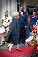 23-10-2014 - AMSTERDAM - Princess Beatrix of the Netherlands, Thursday afternoon, October 23 at the opening of the exhibition Magic African masks and statues from the Ivory Coast in the Nieuwe Kerk in Amsterdam. COPYRIGHT ROBIN UTRECHT