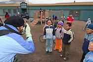 Children playing on a school break. School. Coastal Inuit community of Arctic Bay. Lancaster Sound. HIgh Arctic. Baffin Island. &amp;#xA;(people, kid,<br />