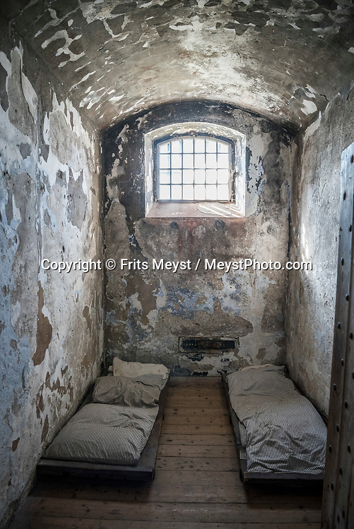 Cork, Southern Ireland, August 2016.  Cork City Gaol once housed 19th century prisoners. Visitors get a fascinating insight into day to day prison life at a time when the high walls ensured no escape and denied law abiding citizens the opportunity to see one of the finest examples of Ireland's architectural heritage. A coastal road trip from Kilkenny to Cork via Wexford and Waterford.  Photo by Frits Meyst / MeystPhoto.com
