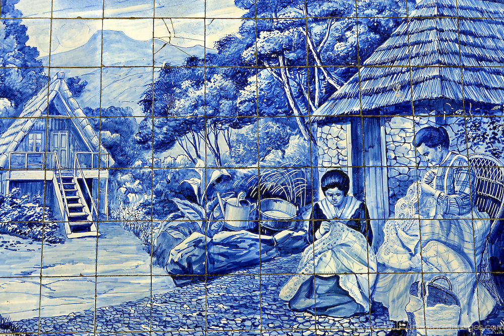 Europe, Portugal, Madeira. Traditional Azulejos tiles in Funchal, Madeira.