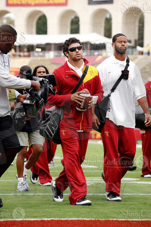 4 October 2008: Starting Quarterback #6 Mark Sanchez arrives with Patrick Turner before the  NCAA College Football Pac-10 conference USC Trojans 44-10 win over the University of Oregon Ducks at the Los Angeles Memorial Coliseum in Los Angeles, California.