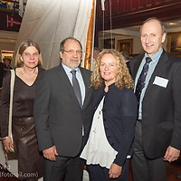 (l to r) Cathy McAleavy, Neil Collen (Managing Director, Collen Construction), Pamela Collen (Collen Construction), and Con Murphy (Racing Director, Volvo Dún Laoghaire Regatta) posing beside the museum's vintage Water Wag. Everyone was attending the official launch of Volvo Dún Laoghaire Regatta 2017 in the National Maritime Museum of Ireland on Wednesday evening. The Regatta will be among the biggest mass-participatory sporting event in Ireland this year (eclipsed for numbers only by the city marathons).