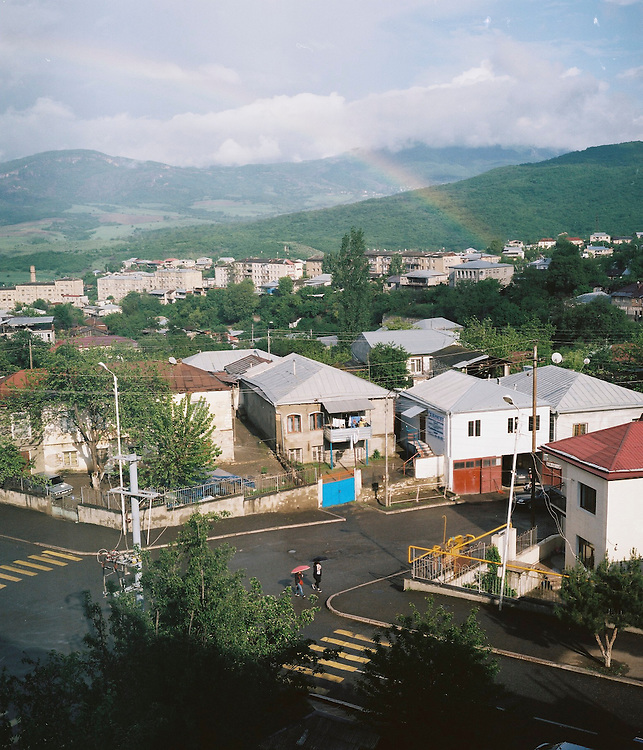 A rainbow arcs over the city on Sunday, May 8, 2016 in Stepanakert, Nagorno-Karabakh.