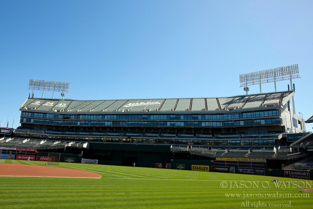 OAKLAND, CA - MAY 26:  General view of O.co Coliseum before the game between the Oakland Athletics and the Detroit Tigers on May 26, 2014 in Oakland, California. The Oakland Athletics defeated the Detroit Tigers 10-0.  (Photo by Jason O. Watson/Getty Images) *** Local Caption ***
