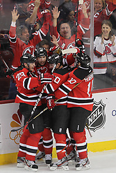 April 24, 2012; Newark, NJ, USA; The New Jersey Devils celebrate a goal by New Jersey Devils right wing Steve Bernier (18) during the first period of game six of the 2012 Eastern Conference quarterfinals at the Prudential Center.