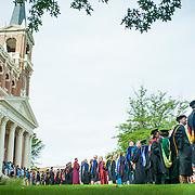 Faculty line up outside St. Aloysius Church for the Academic Convocation. (Austin Ilg photo)