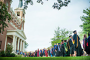Faculty line up outside St. Aloysius Church for the Academic Convocation. (Austin Ilg photo)