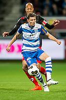 ROTTERDAM - Excelsior - PEC Zwolle , Voetbal , Eredivisie , Seizoen 2016/2017 , Stadion Woudestein , 21-10-2016 , PEC Zwolle speler Django Warmerdam (r) in duel met Excelsior speler Ryan Koolwijk (l)