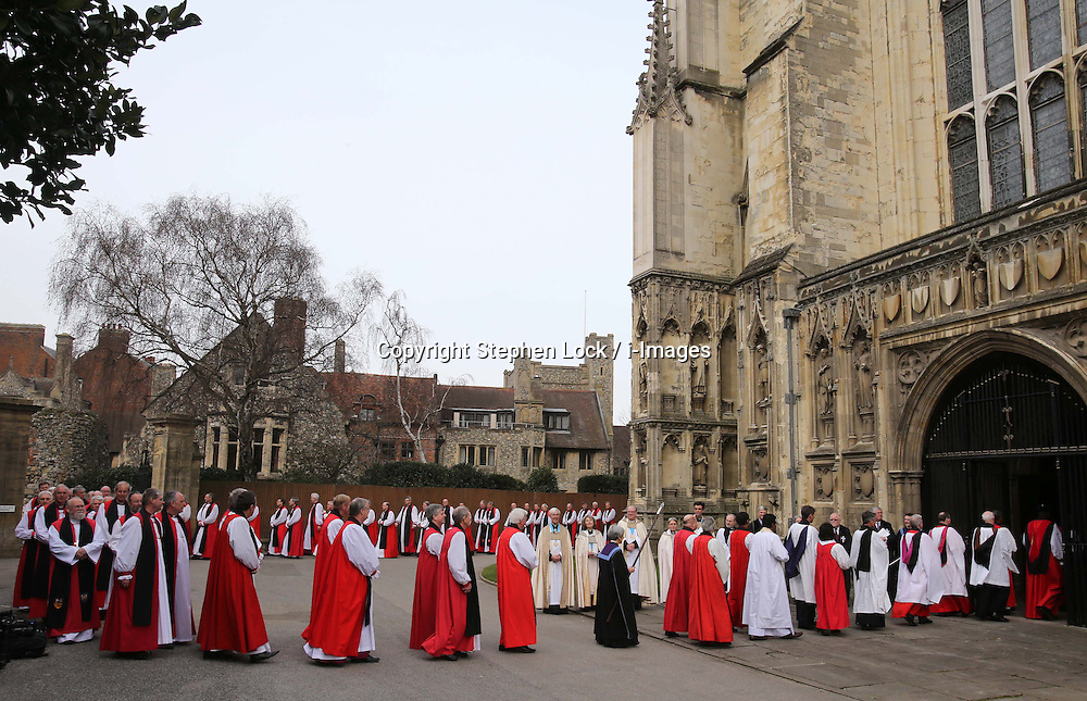 Clergy  arriving at the  enthronement of Justin Welby as the Archbishop of Canterbury, at Canterbury Cathedral in Kent,  Thursday, 21st March 2013.  Photo by: Stephen Lock / i-Images