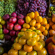 Tangerines, grapes, limes, pomagranets, fruits, Cusco, Peru, Market.