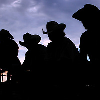 Cowboys watch the action during the Barretos na America rodeo at the Brockton Fairgrounds, Saturday,  May 23, 2009.