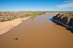 The remains of the ancient Devonian reef at Geikie Gorge near Fitzroy Crossing.