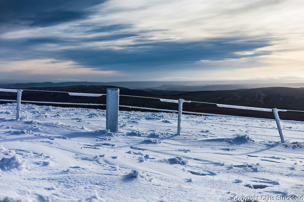 Cheviot Hills, Yetholm, UK. 13th January 2016. Looking south from the Cheviot Cairn Hill (777m).