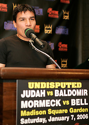 Carlos Baldomir speaks during the presser announcing his title challenge of Undisputed Welterweight Champion Zab Judah.  The two will meet at the Theater at Madison Square Garden on January 7, 2006.