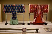 Heian era (794-1185) clothes exhibited at Ishiyamadera temple as part of the millennium celebration festivities,.