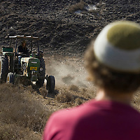 An Israeli settler ploughs  the earth of a field in Havat Gilad.
