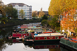 London, November 5th 2014. After a riny night, Londoners wake up to patchy morning sunshine as Autumn leaves herald the approach of winter, with some forecasters predicting extreme conditions. Pictured: The morning sun illuminates the trees surrounding residential narrowboat moorings at Little Venice on the Regents Canal.