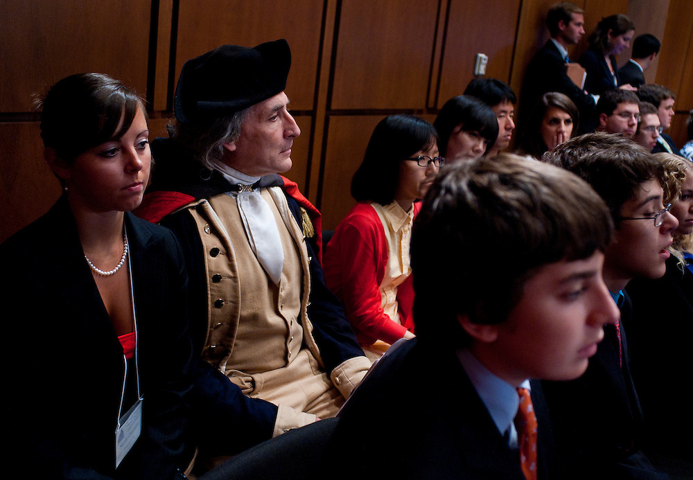 Jul 20, 2010 - Washington, District of Columbia, U.S., - Dressed as George Washington, JAMES RENWICK MANSHIP, SR, watches the proceedings of the Senate Judiciary Committee meeting on Tuesday. The committee voted, 13-6, in favor of Solicitor General Kagan's confirmation to the Supreme Court. The vote was largely along party lines except for Senator Lindsey Graham, (R-S.C.),  who broke ranks with his GOP colleagues by supporting her. The full Senate is expected to take up Kagan's nomination in early August..(Credit Image: © Pete Marovich/ZUMA Press)