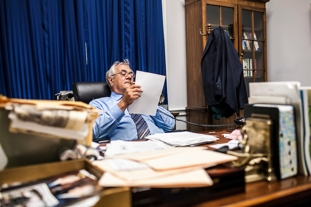 Rep. Barney Frank (D-MA), Chairman of the House Committee on Financial Services, talks on the phone in his office on Capitol Hill on Friday, September 19, 2008 in Washington, DC. Brendan Hoffman for the New York Times