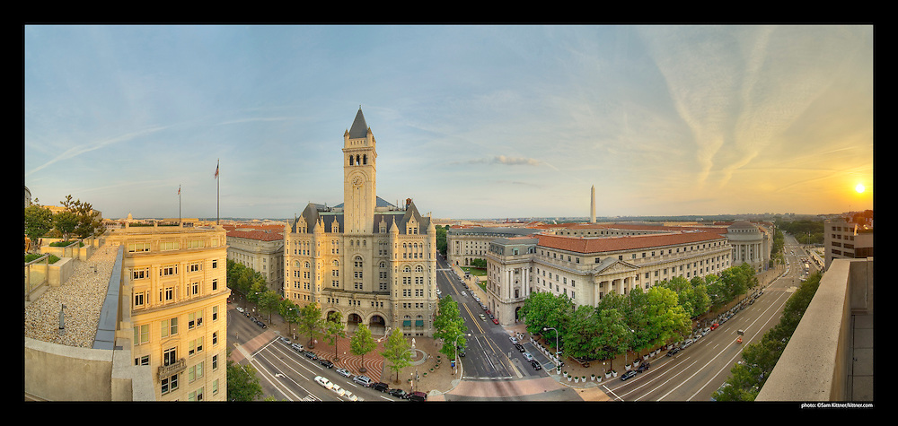 Panoramic photograph of Old Post Office Building at 12th and Pennsylvania Avenue in Washington, DC.  Features Washington Monument.  Print Size (in inches): 15x7; 24x11; 36x17; 48x23; 60x28.5; 72x34.