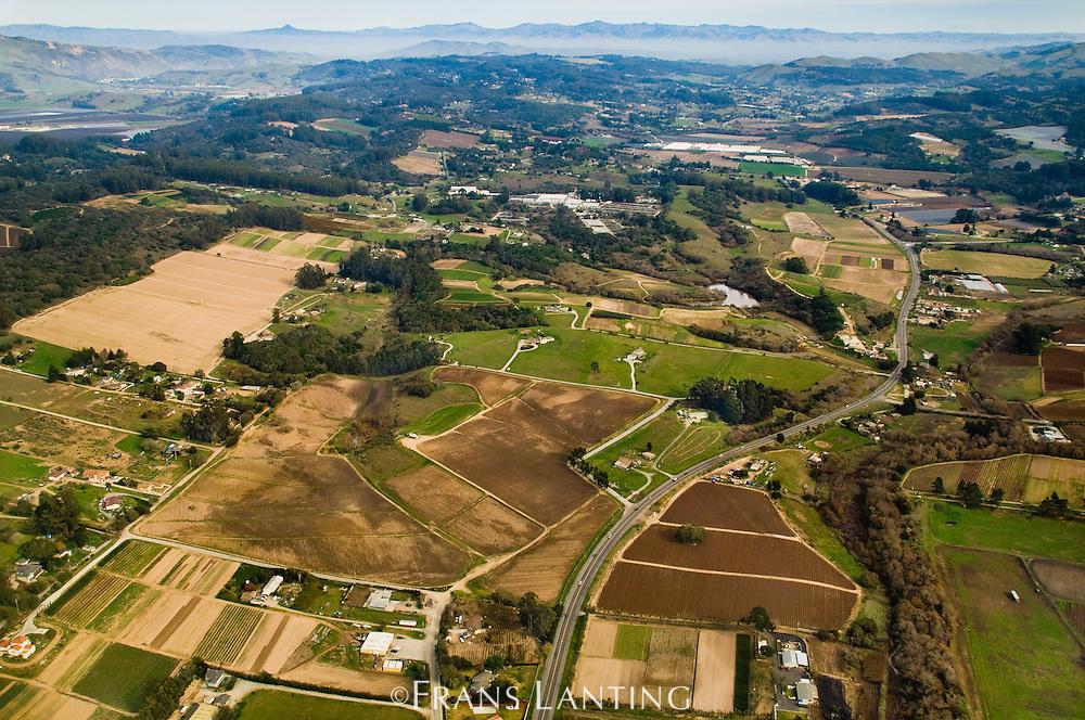 Coastal farmland (aerial), Monterey Bay, California
